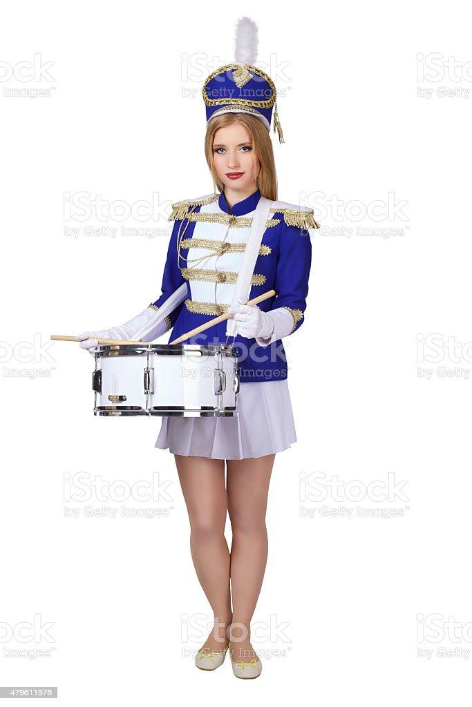cheerleade drummer isolated on white background stock photo