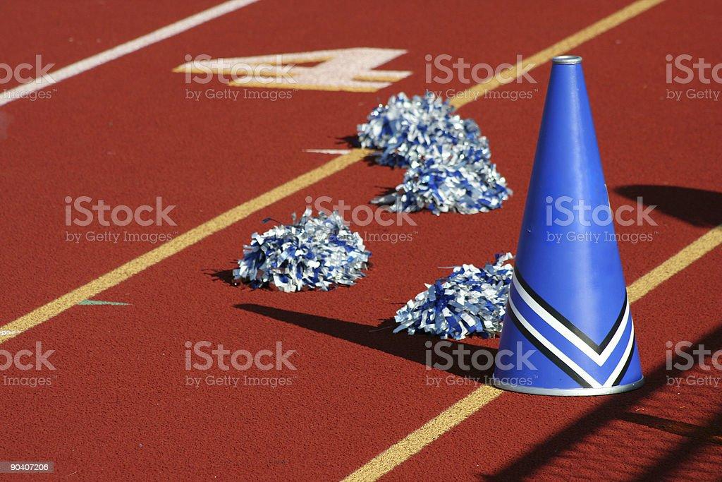 Cheerleader pom poms and megaphone stock photo