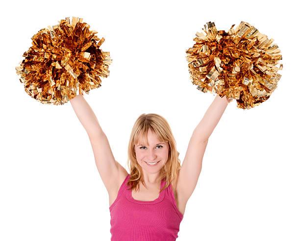 cheerleader rejoicing - pompon stockfoto's en -beelden