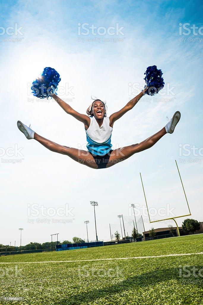 Cheerleader Split Leap stock photo