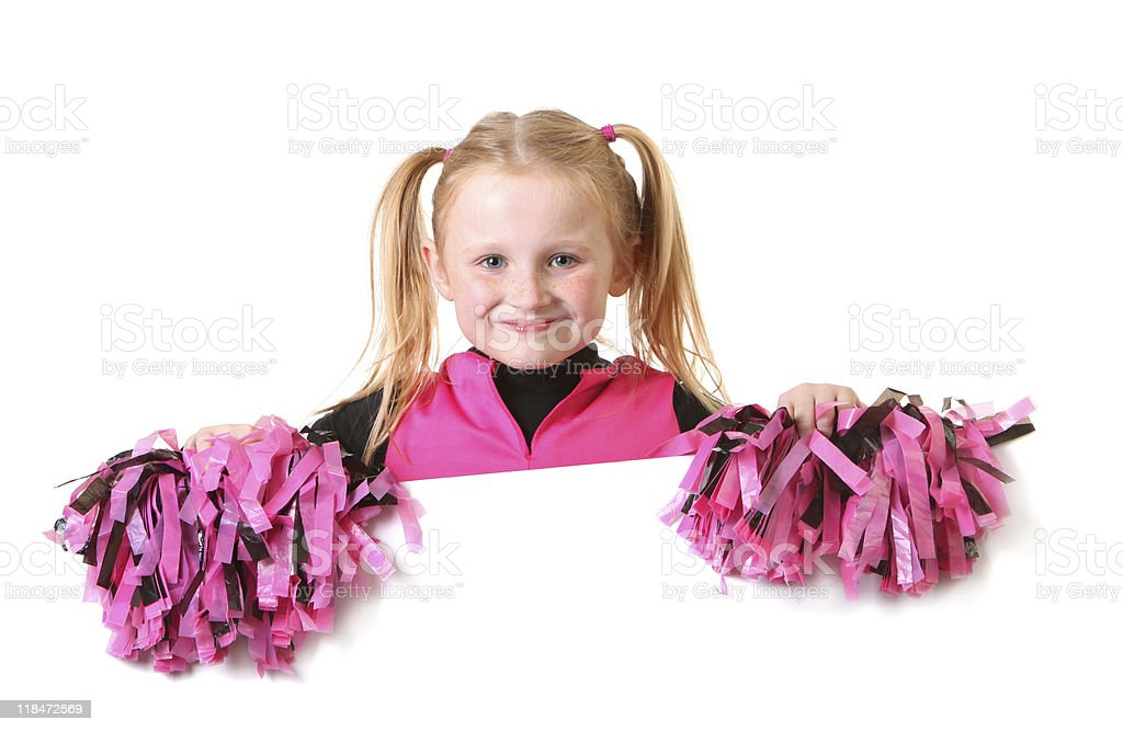 cheerleader with sign royalty-free stock photo