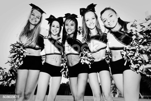 Group of Cheerleaders together.Retro BW Edit, Group Portrait.