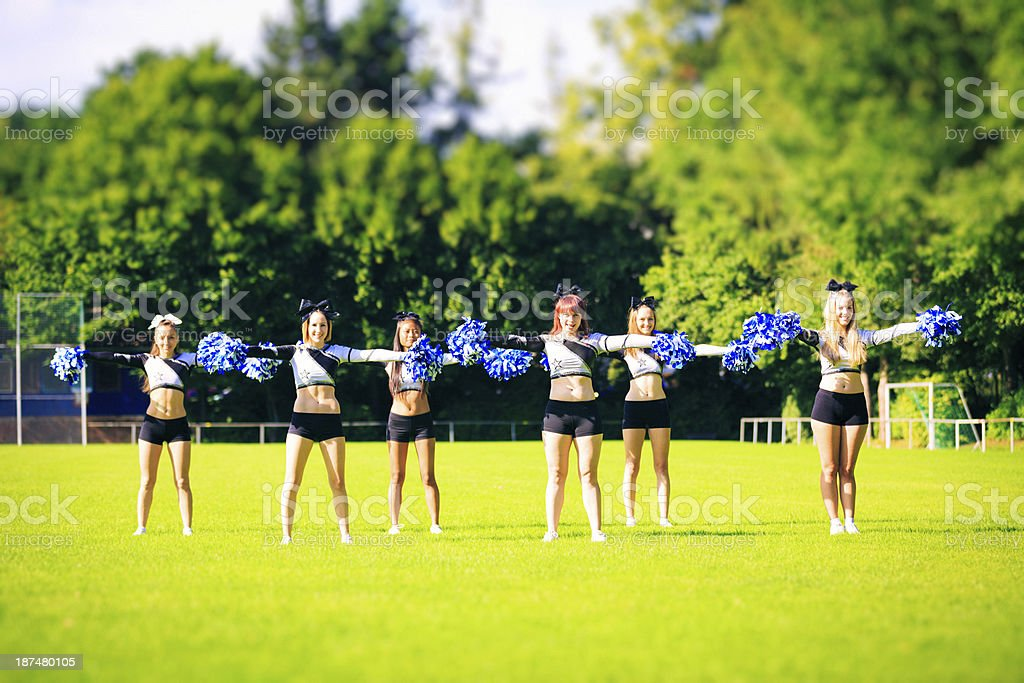 cheerleaders practicing royalty-free stock photo
