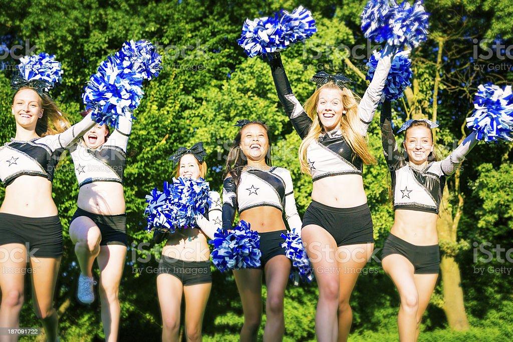 cheerleaders running royalty-free stock photo
