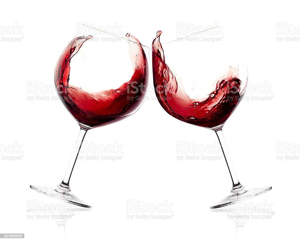 Cheers. A Toast with Red Wine. Splash stock photo