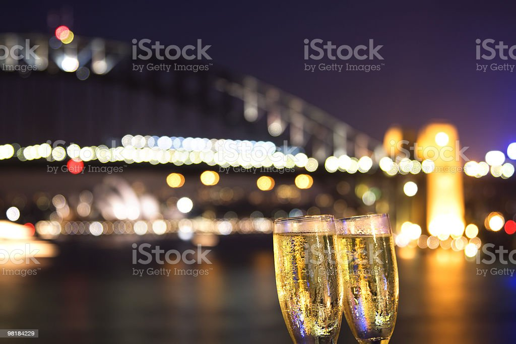 Cheers! champagne at night royalty-free stock photo