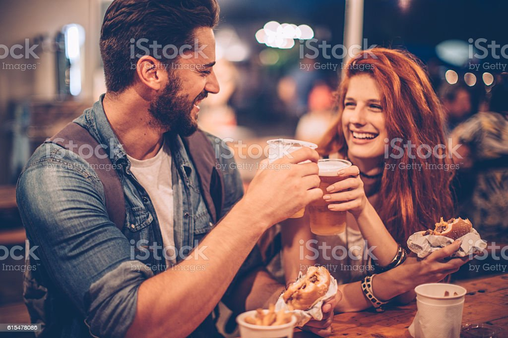 Cheers for summer nights stock photo