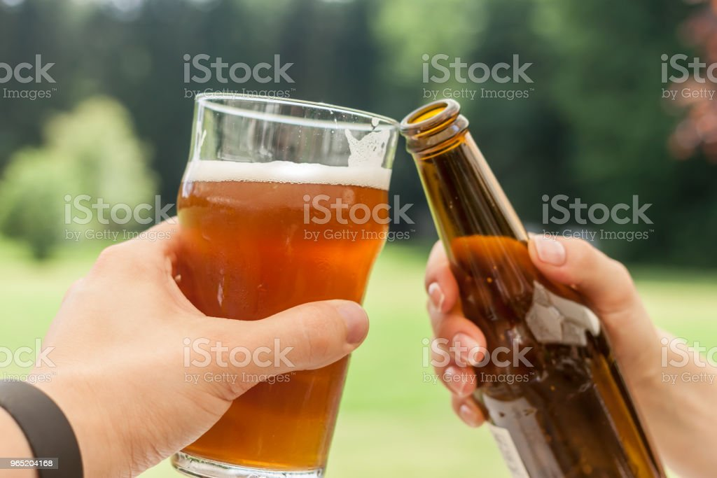 cheers glass and bottle of beer zbiór zdjęć royalty-free