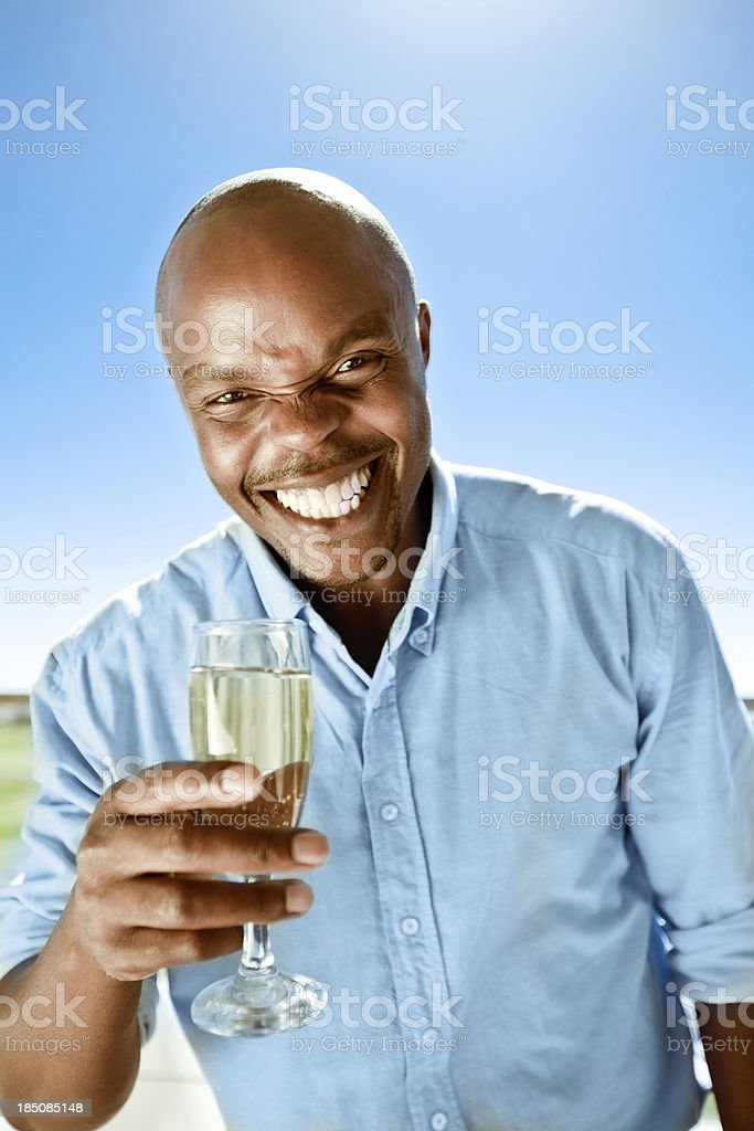 Cheers! Happy man toasting with the white wine at the camera against blue sky. Adult Stock Photo