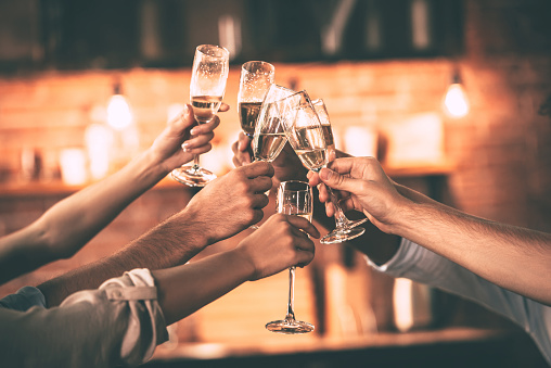 Champagne toast stock photos