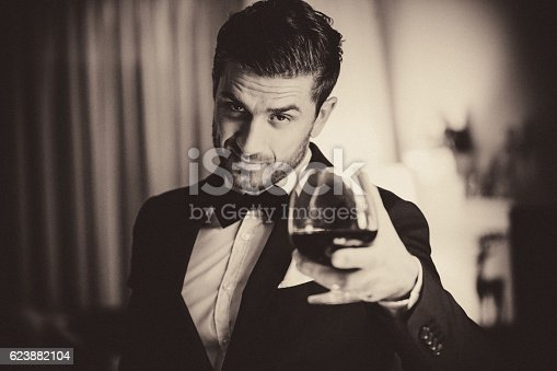 Handsome European Man Cheering with a wine glass in his hand