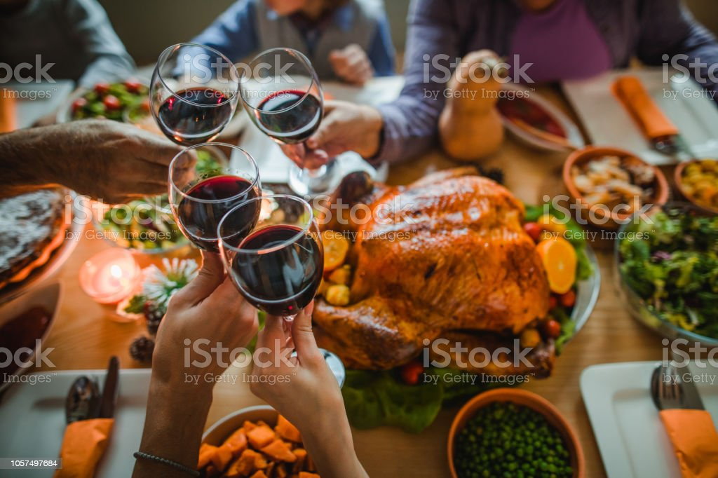 Cheers to this great Thanksgiving dinner! - Zbiór zdjęć royalty-free (Alkohol - napój)