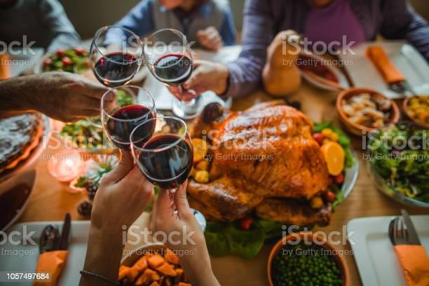 Cheers To This Great Thanksgiving Dinner - Fotografie stock e altre immagini di Adulto