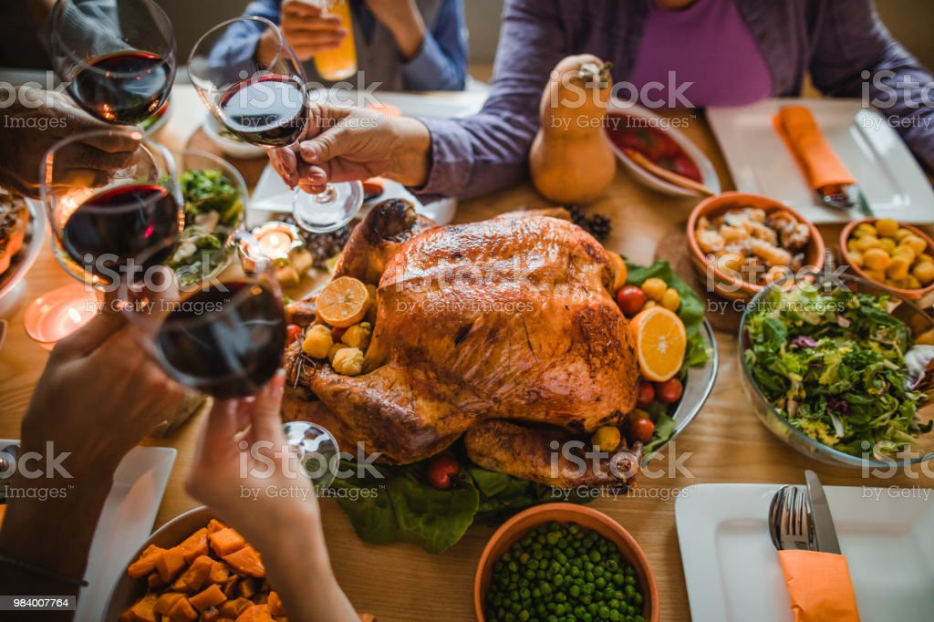 Cheers to this great Thanksgiving dinner! stock photo