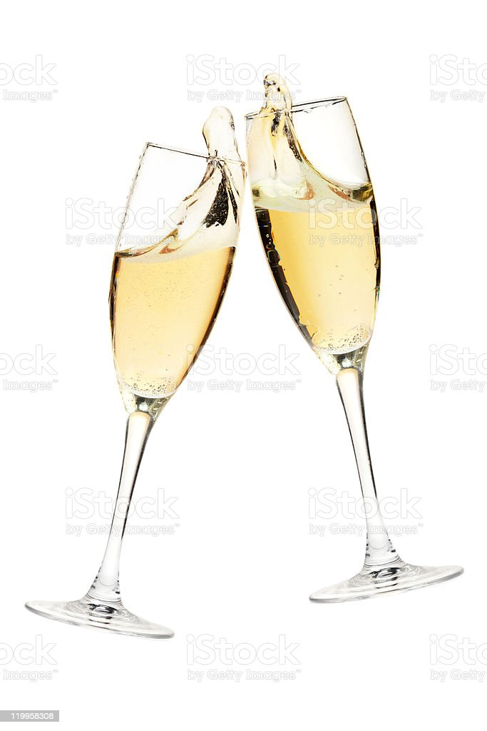 Cheers! Two champagne glasses royalty-free stock photo