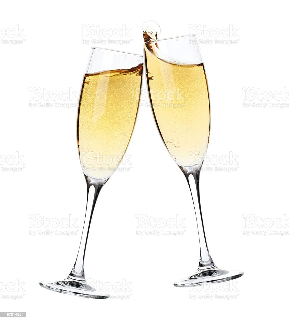 Cheers! Two champagne glasses stock photo