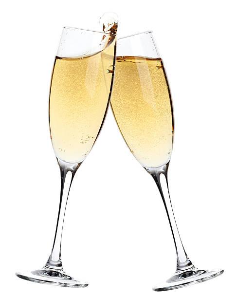 cheers! zwei champagner-gläser - sektglas stock-fotos und bilder