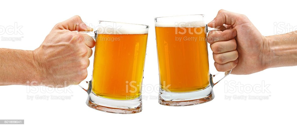 cheers, two glass beer mugs isolated on white stock photo