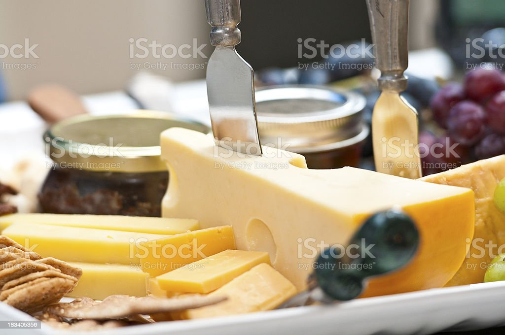 """Cheese & Fruit Tray """"Cheese, fruit, jams, crackers snack tray"""" Appetizer Stock Photo"""