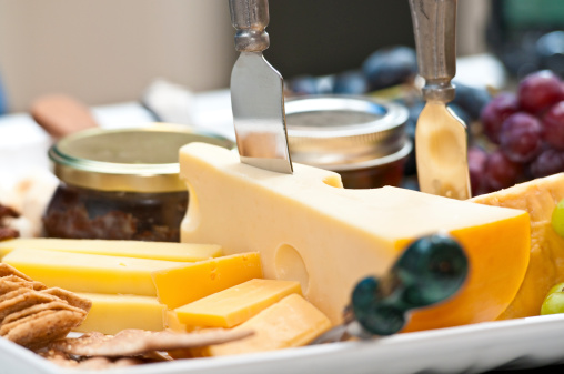 Cheese Amp Fruit Tray Stock Photo - Download Image Now