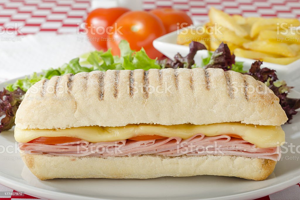 Cheese & Ham Panini stock photo