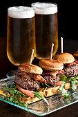 Mini kobe beef burger and beer