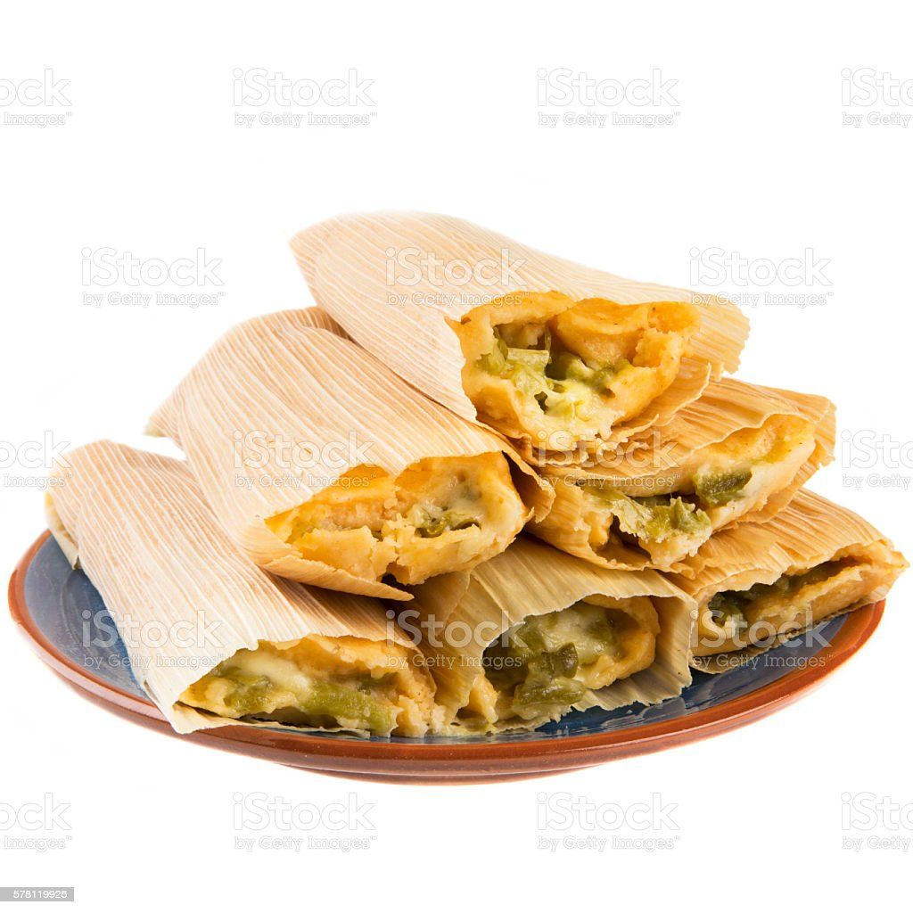 Cheese and Chili Tamales Isolated stock photo