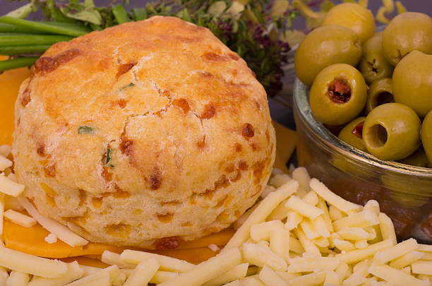 Cheese and Chive Scone stock photo