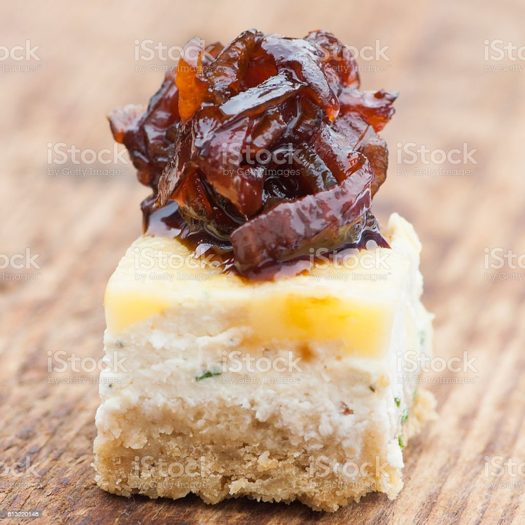 Cheese and Chutney Bite Canapé stock photo
