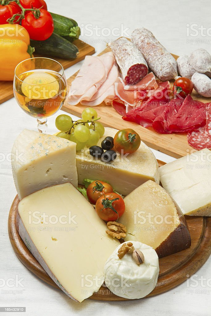 cheese and cold cuts royalty-free stock photo