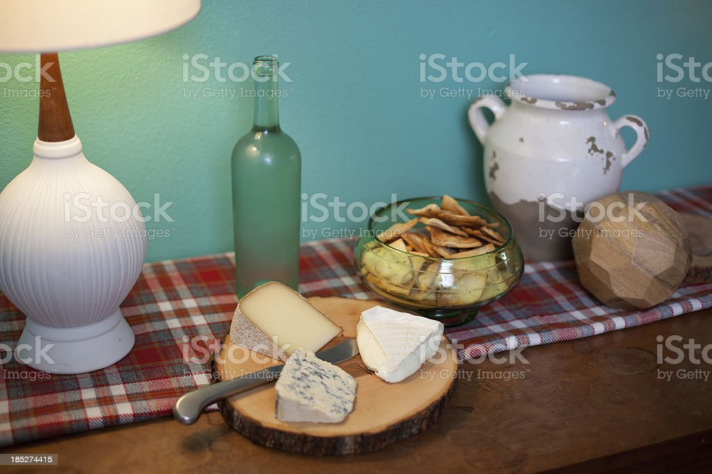 Cheese and cracker display stock photo