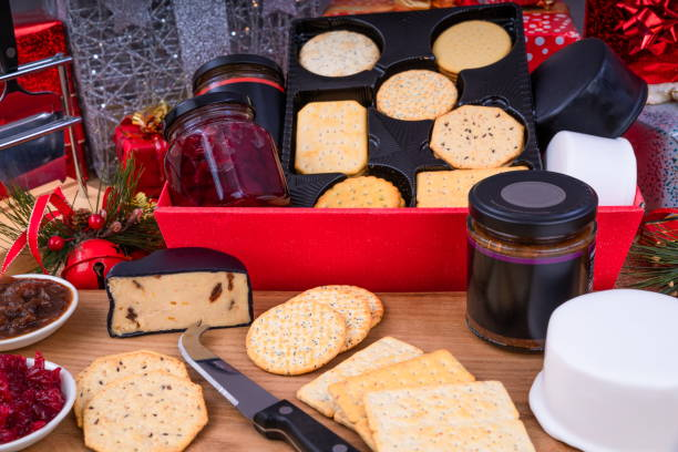 Cheese and Crackers Christmas Hamper stock photo