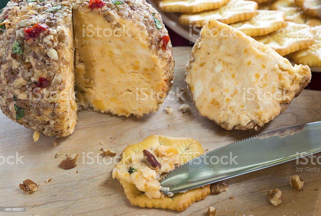 Queijo e biscoitos - foto de acervo
