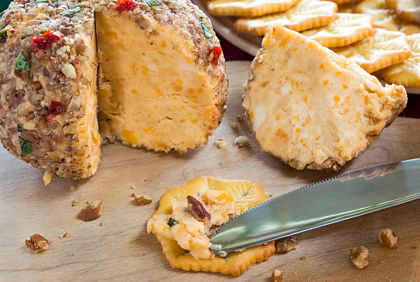 cheese and crackers - pimento cheese stock photos and pictures