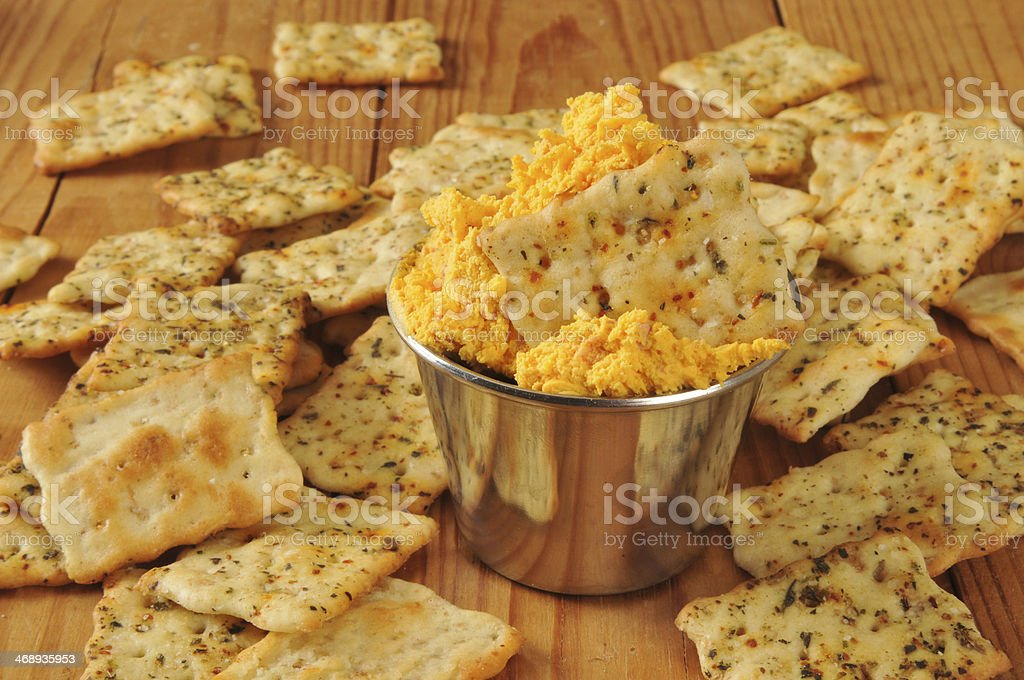 Cheese and flatbread crackers royalty-free stock photo