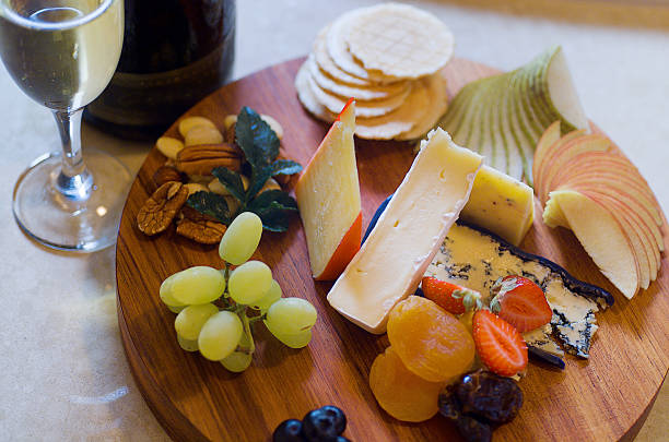 Cheese and Fruit Platter stock photo