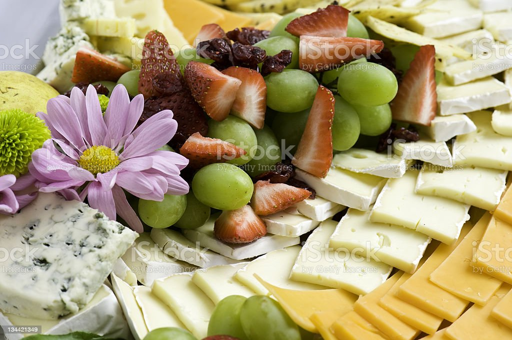 Cheese and Fruit Tray Platter stock photo