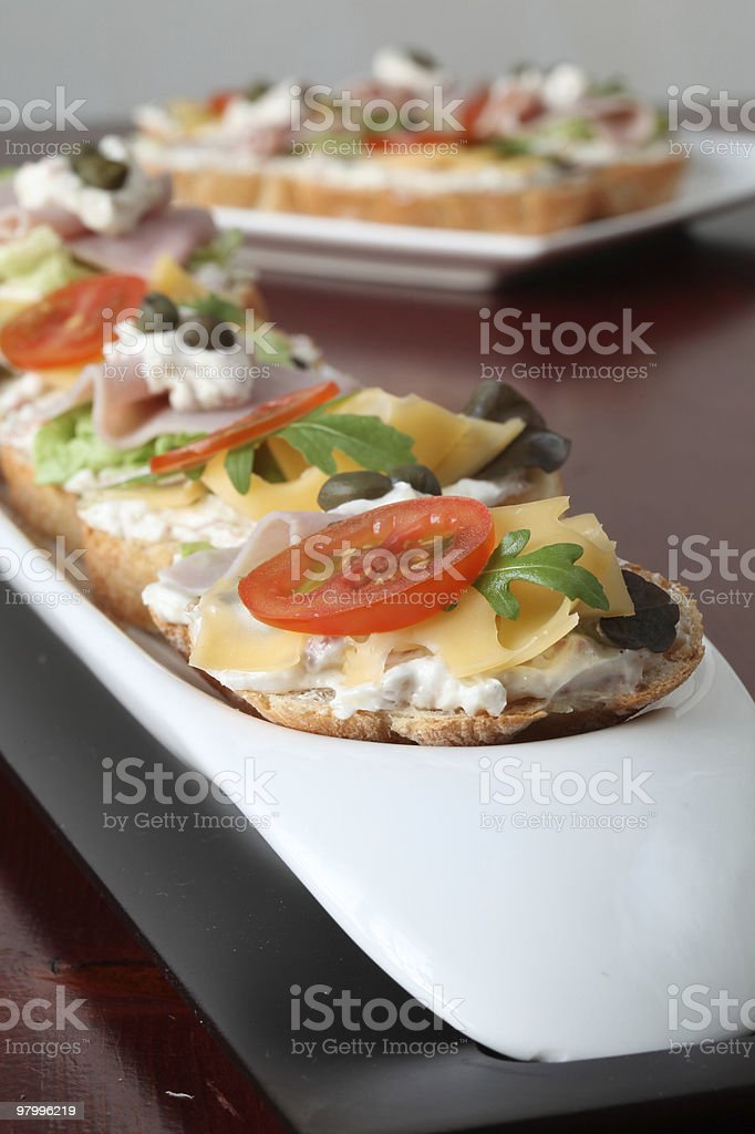 Cheese and ham appetizers royalty-free stock photo