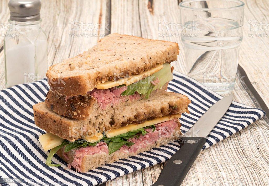 Cheese and ham sandwich stock photo