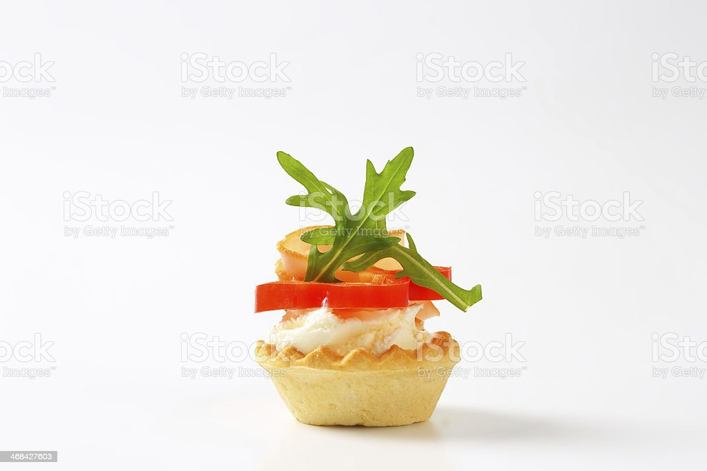 cheese and ham tartlet stock photo