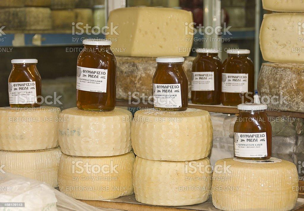 cheese and honey jars display royalty-free stock photo