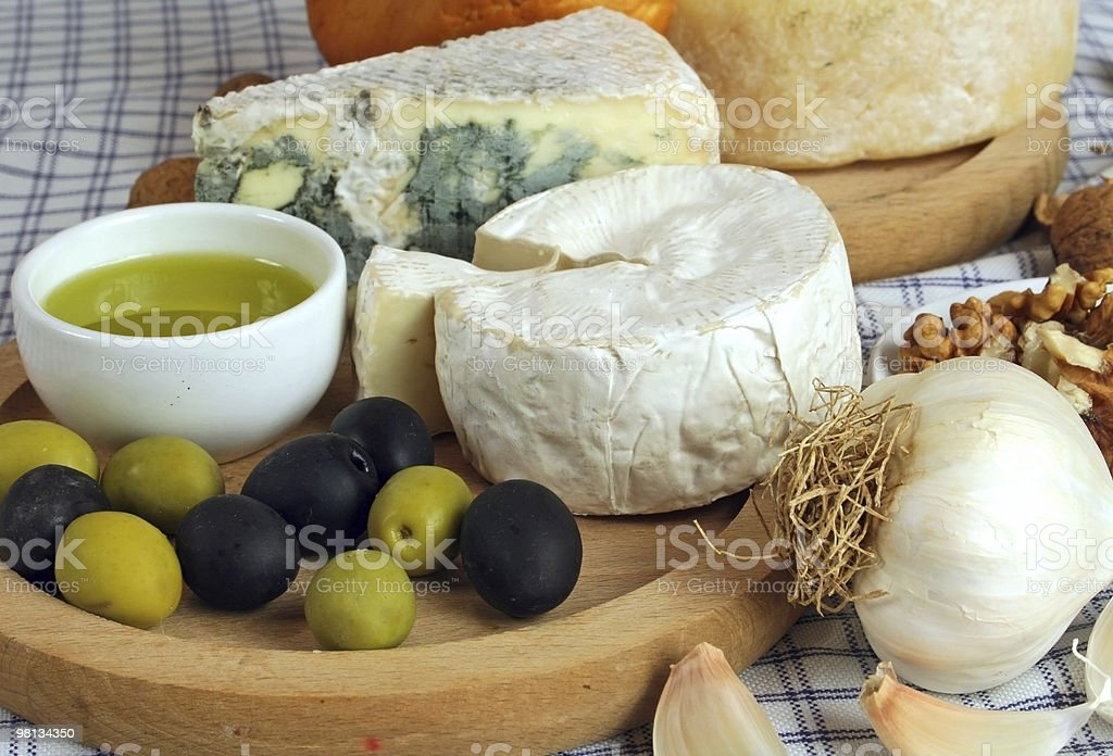 Cheese and olives royalty-free stock photo