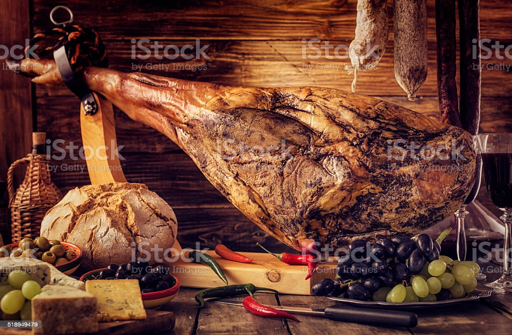 Cheese and Pata Negra stock photo