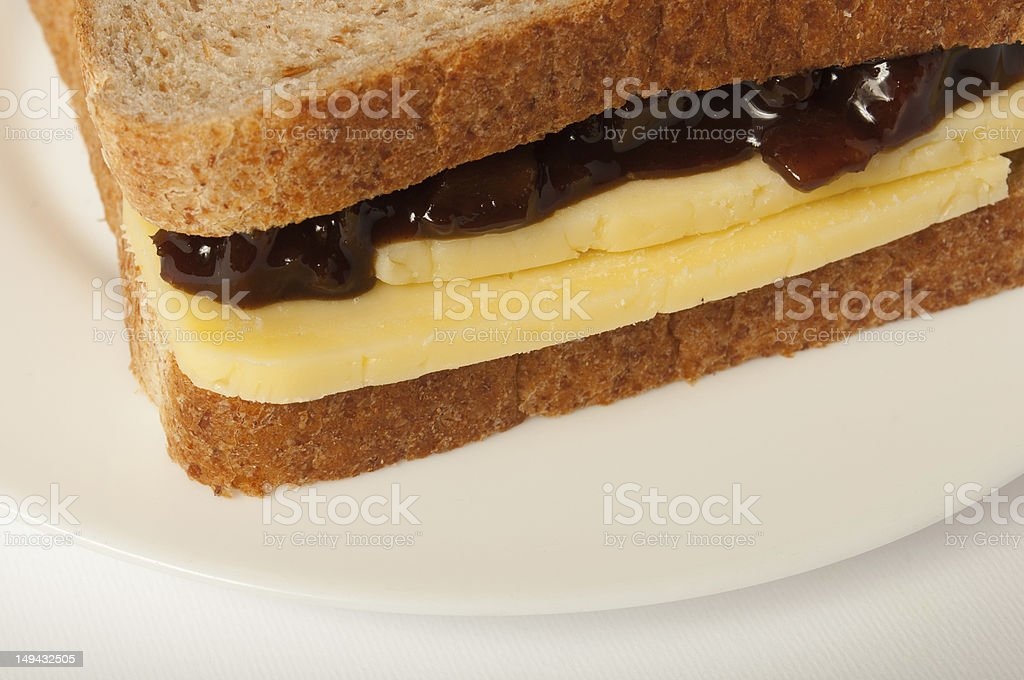 Cheese and pickle sandwich stock photo