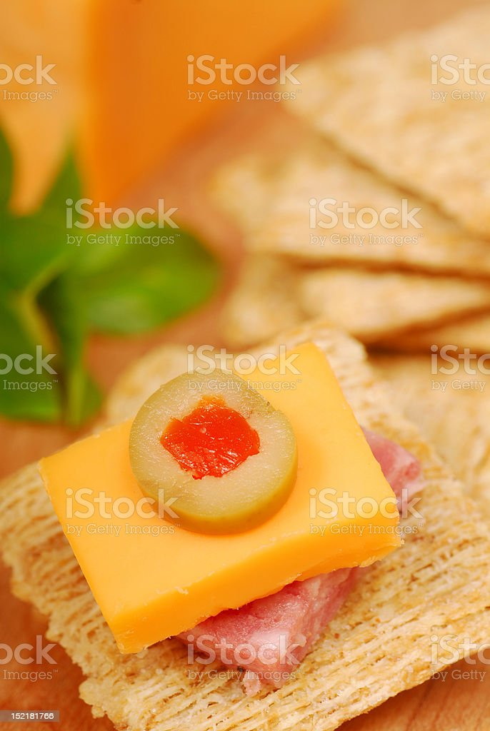 Cheese and salami appetizer royalty-free stock photo