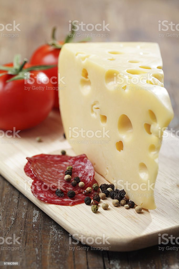 Cheese and salami royalty-free stock photo