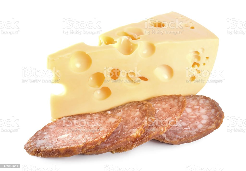 Cheese and Sausage isolated royalty-free stock photo