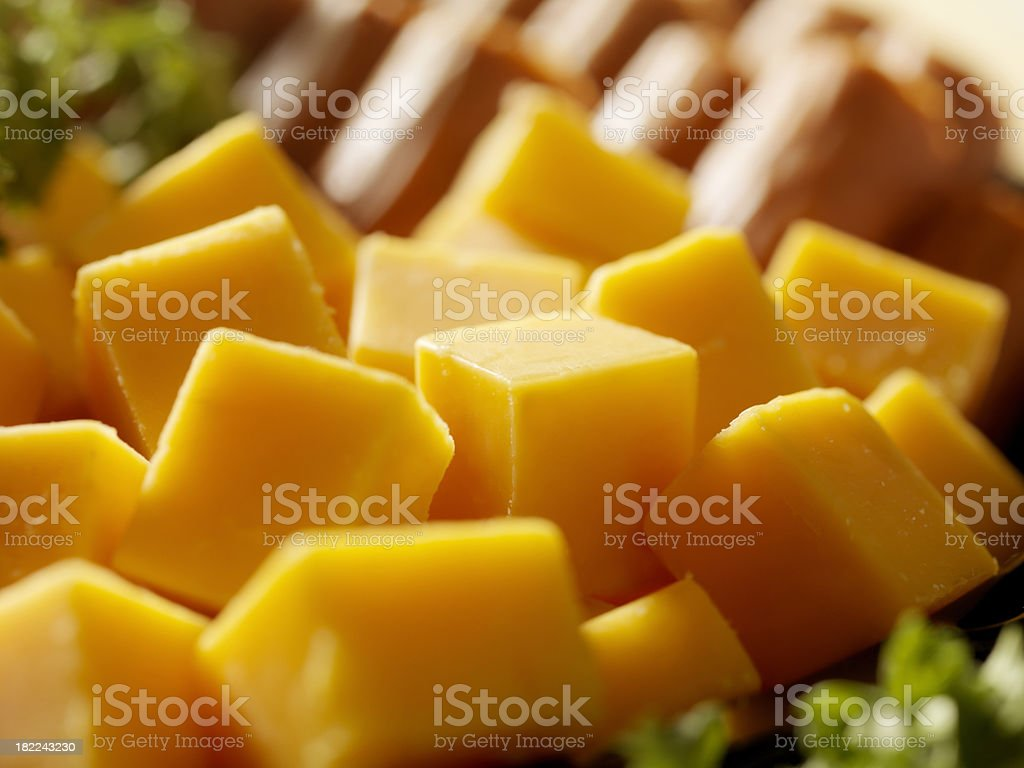 Cheese and Sausage stock photo