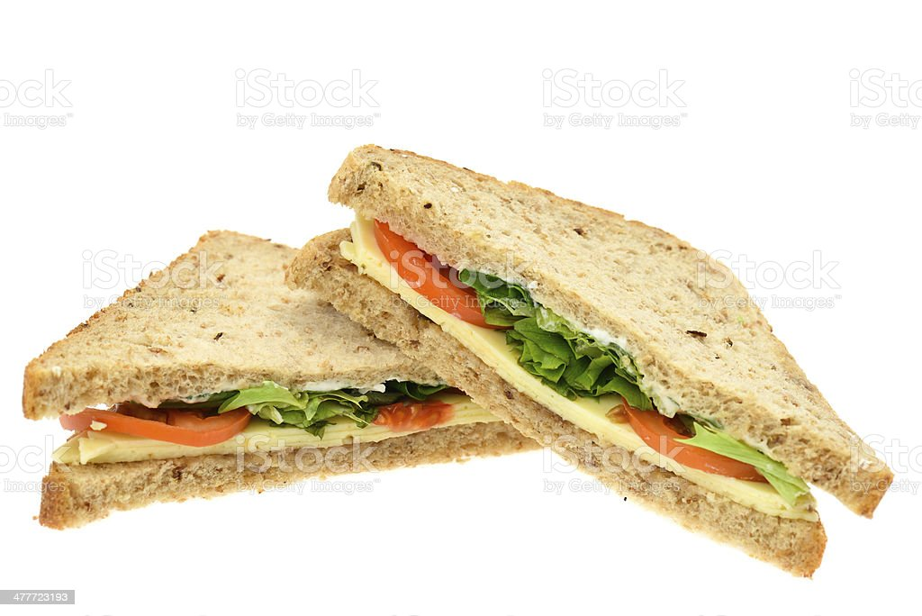 Cheese and tomato sandwich stock photo