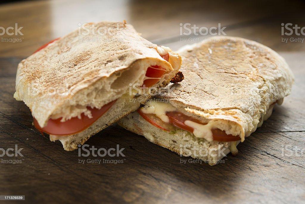 Cheese and Tomato toasted Ciabatta stock photo
